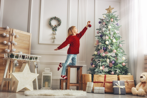 Boy Decorating Holiday Christmas Tree